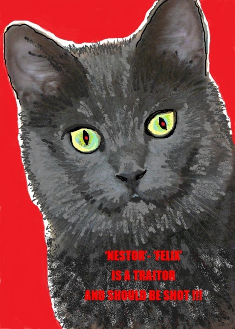 'A cat was shot for treason in World War One  It had acted as an intermediary between Allied and Axis lines: English and German soldiers could send messages to each other by tying scraps of paper to the cat's collar. The cat then ran across No Man's Land, from one trench to the other. When the War Office found out, Allied superior officers ordered that the cat, nicknamed Felix, should be shot for its being a go-between, and thus enabling fraternization between the warring troops on the Western Front. …  Felix the cat, however, (Called Nestor by the Germans) was a law unto itself. It would wait patiently whilst cheery little scrawls In English and in German Were being attached to its collar by trembling fingers, raw with cold: